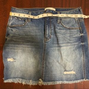 Distressed Denim Skirt with raw hem. MUDD size 9.